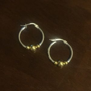 Jewelry - Sterling Silver hoop earrings with gold-tone beads